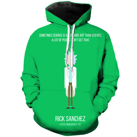 Simplistic Rick | Rick and Morty 3D Printed Unisex Hoodies - RespawnWear
