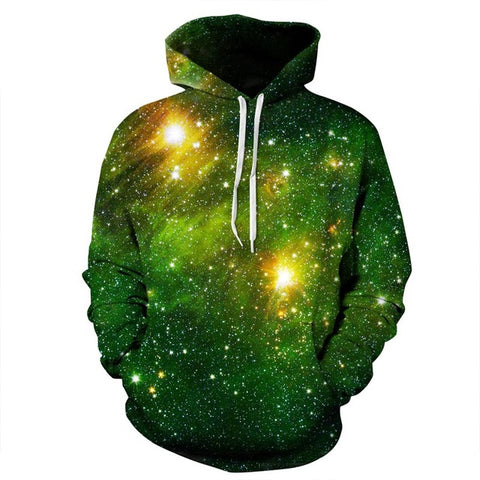 Green Nebula Cluster Space Galaxy 3D Unisex Pocket Hoodie - RespawnWear