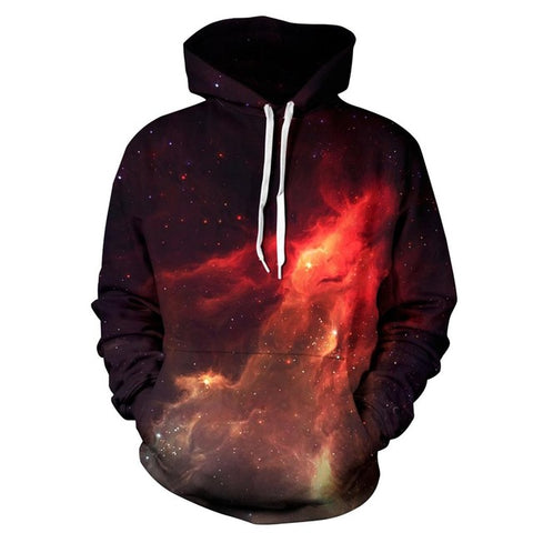 Red Constellation Galaxy 3D Unisex Pocket Hoodie - RespawnWear