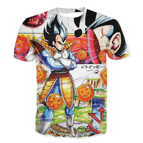 Prince Vegeta Hand-drawn Dragon Ball Z Unisex Tshirt [3D Printed] - RespawnWear