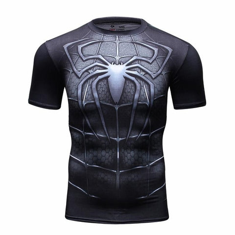 Black Spiderman Compression Tshirt - RespawnWear