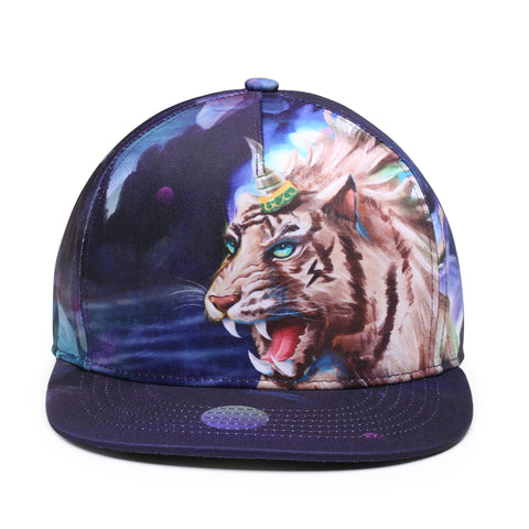 Trippy Psychedelic Space Tiger Unisex Snapback Hats: 3D Printed Hip-Hop Baseball Cap - RespawnWear