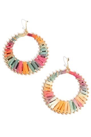 Multi color circle earrings