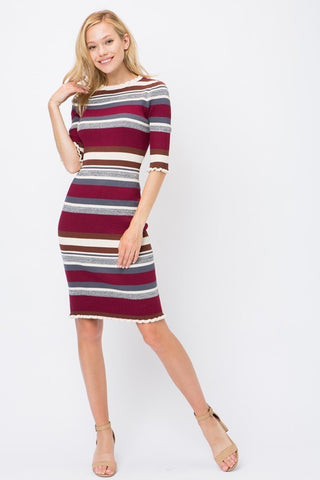 Burgundy color block dress