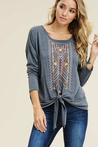 Charcoal embroidered top