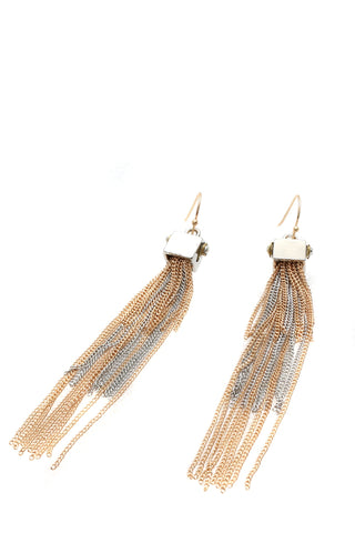 Metal tassel earrings gold and silver