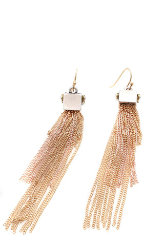Metal tassel earrings gold