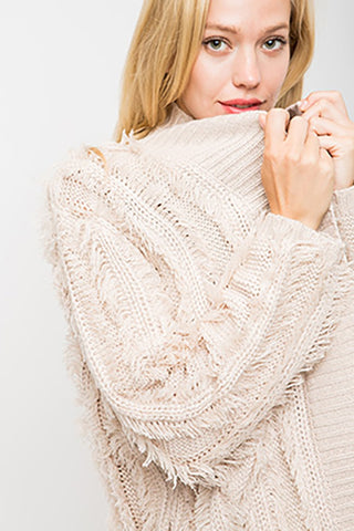 Cream fringed sweater