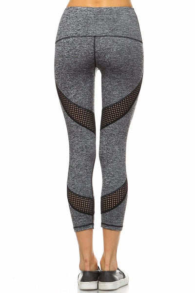 Gray and black mesh detail pants