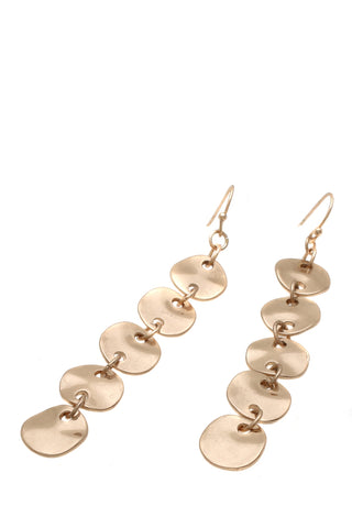 Metal disc drop earrings gold