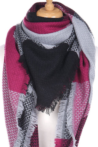 Pink & gray blanket scarf