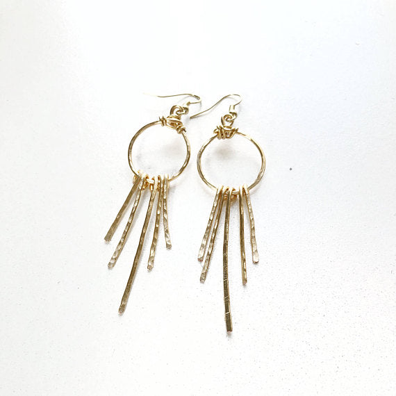 Gold Hammered Fringe Earrings