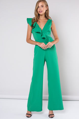 Green sleeveless jumpsuit