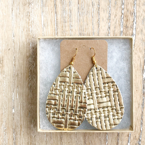 Gold basketweave leather earrings