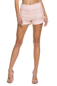 Nude pink lace shorts