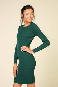 Hunter green body con dress