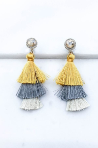 Yellow multi tassel drop earrings