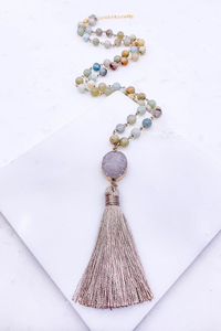 Multi bead druzy necklace