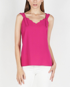 Mulberry scallop tank top