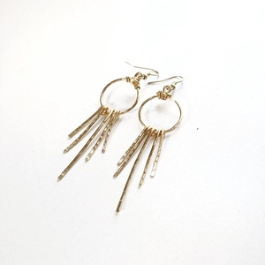 Gold hammered sunburst earrings