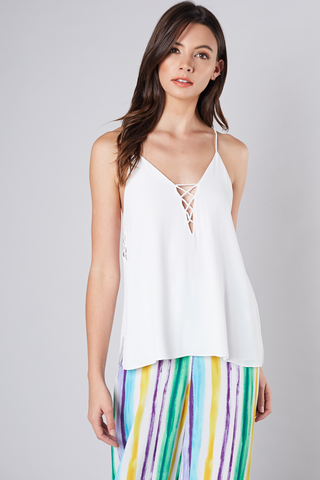 White criss cross detail top