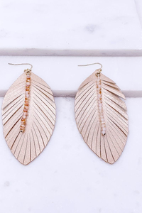 Rose gold fringe feather earrings