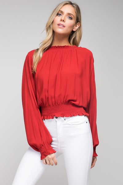 Brick smocked neck woven top