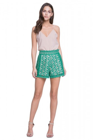 Green scalloped lace trim shorts