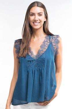 Teal chiffon and lace top