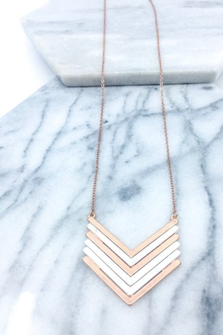 Mixed metal chevron necklace
