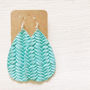 Mint braided leather earrings