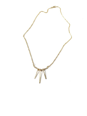 Gold hammered fringe necklace
