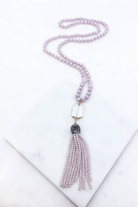 Lavender beaded glass necklace