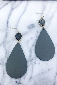 Gray druzy leather earrings