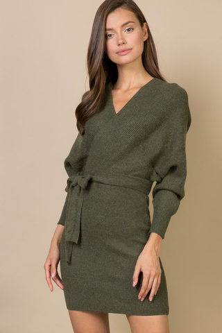 Olive wrap sweater dress