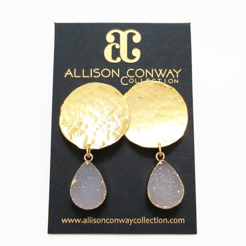 Raindrop druzy pendant earrings