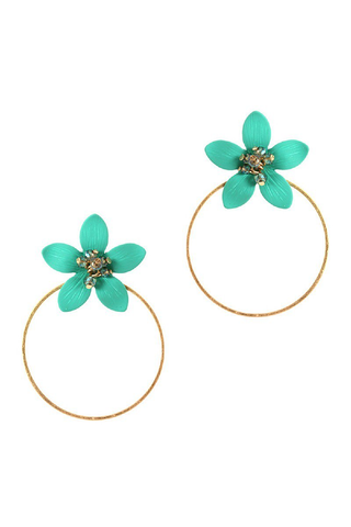 Turquoise flower round hoop earrings