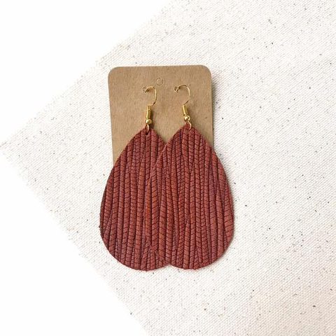 Cinnamon palm teardrop leather earrings