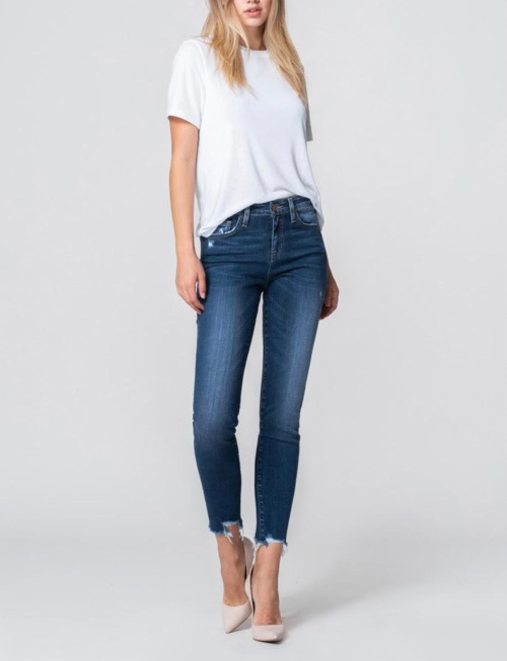 High rise crop skinny jeans