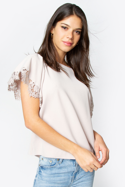 Tan lace trim top