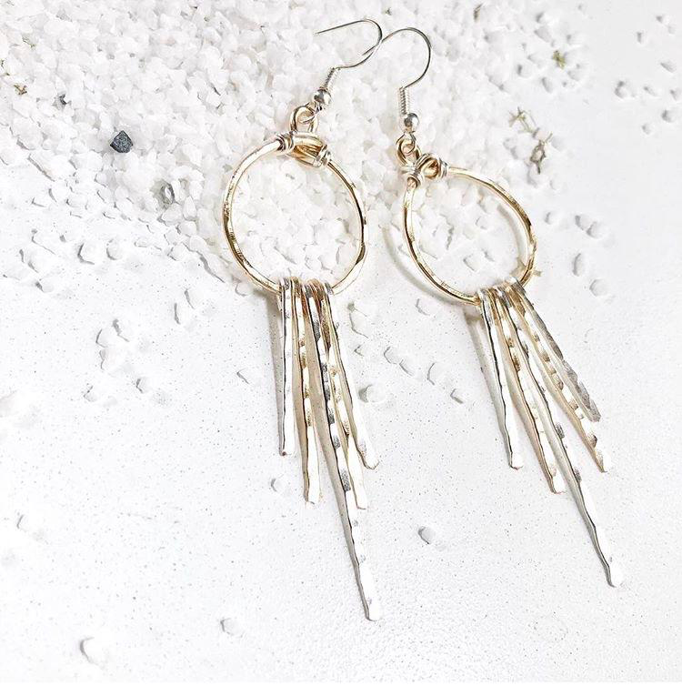 Mixed metal fringe earrings