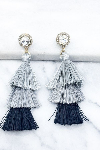 Black multi tassel drop earrings