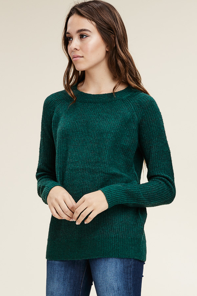 Emerald green fuzzy pullover sweater
