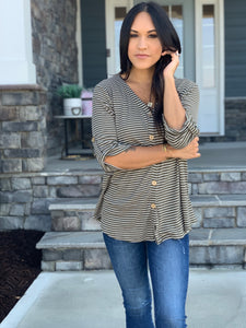 Olive stripe top