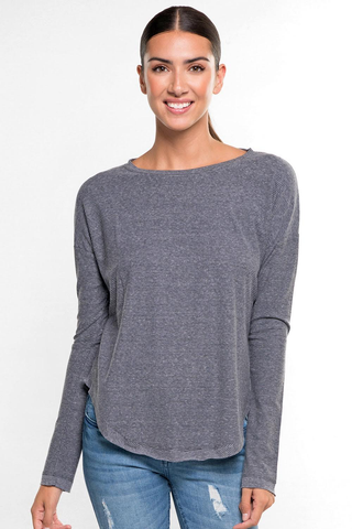 Charcoal jersey stripe top