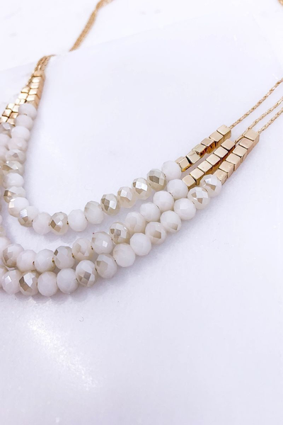 Beige beaded layered necklace