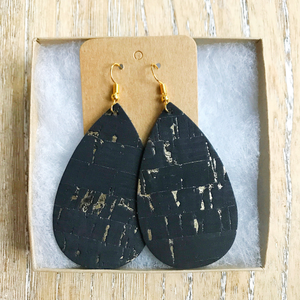 Black gold speck leather earrings