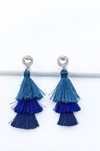 Blue multi tassel drop earrings