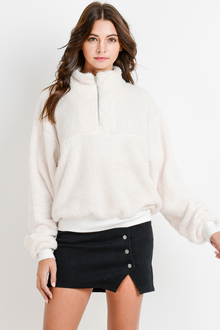 White fleece pullover