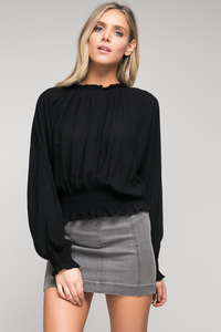 Black smocked neck woven top